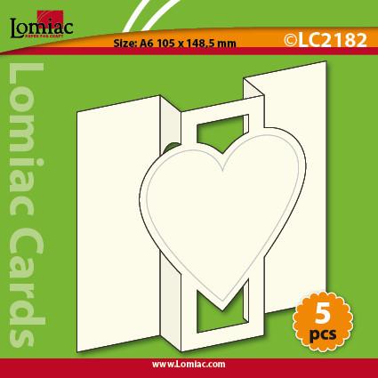 Lomiac uitklapkaart hart LC 2182 5 stuks wit (Locatie: NN066)