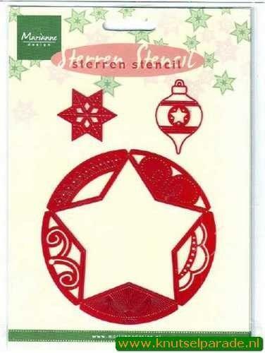 Marianne Design snij- embos en borduurmal kerststerren SK7702 (Locatie: I045 )
