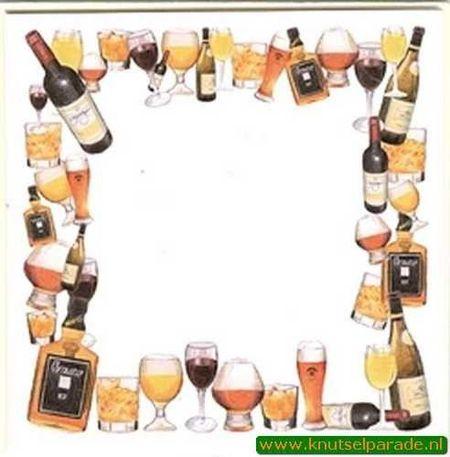 Mireille dubbele kaart en envelop creme passepartout wijn/bier 3 stuks (Locatie: V43 )