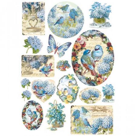 Stamperia Rice Paper A4 Blue Birds & Butterflies DFSA4077 (Locatie: 0819)