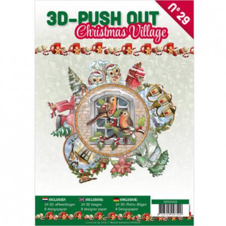 Stansboek Christmas Village, 24 afbeeldingen en 8 designpapier, 3DPO10029 (Locatie: 4544)