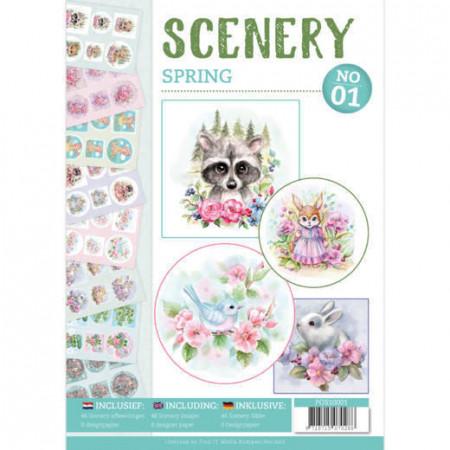 Stansboek Scenery Spring 01, 48 afbeeldingen en 8 designpapier, POS10001 (Locatie: 1220)
