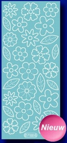 Starform sticker velvet bloemen light blue 7100 (Locatie: B352 )