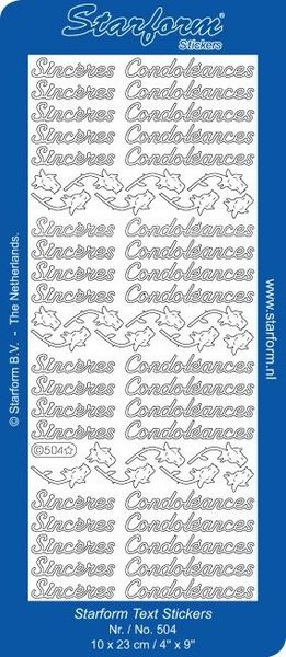 Starform sticker zwart sinceres condoleances 504 (Locatie: L99 )