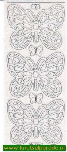 Sticker glitter zilver vlinder nr. 7005 (Locatie: G184 )
