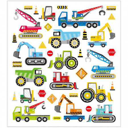 Stickers, vel 15x16,5 cm, bouwplaats voertuigen, 29175 (Locatie: 5817)