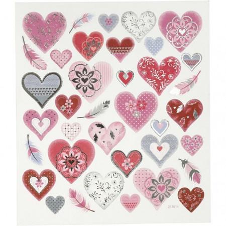 Stickers, vel 15x16,5 cm, hartjes, 27191 (Locatie: 0320)