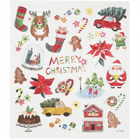 Stickers, vel 15x16,5 cm, kerstmis, 298901 (Locatie: 5812)