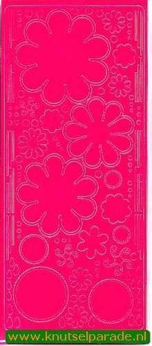 Stickervel bloemen fel roze 0400 (Locatie: S114 )