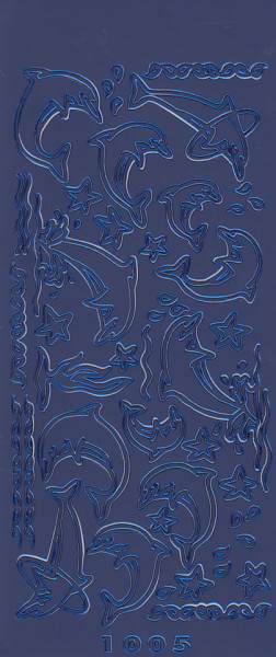 Stickervel dolfijnen blauw 1005 (Locatie: g319)