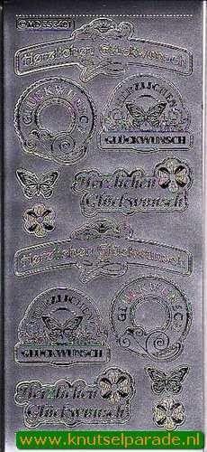 Stickervel herzlichen Gluckwunsch zilver MD353401 (Locatie: E197 )