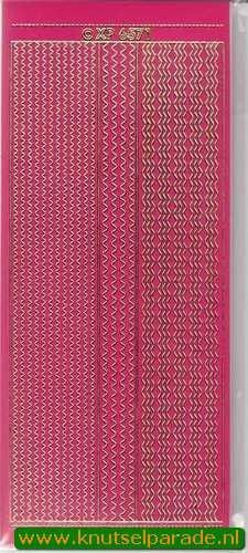 Stickervel randje roze/goud nr. XP 6571 (Locatie: M03 )