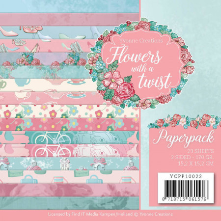 Yvonne Creations, Paperpack, 15.2 x 15.2 cm, Flowers with a twist, YCPP10022