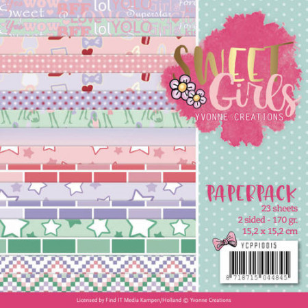 Yvonne Creations, Paperpack, 15.2 x 15.x cm, Sweet Girls, YCPP10015