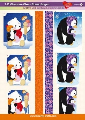 3 D glamour stansvel kerst pinguine 7 (Locatie: 1732)
