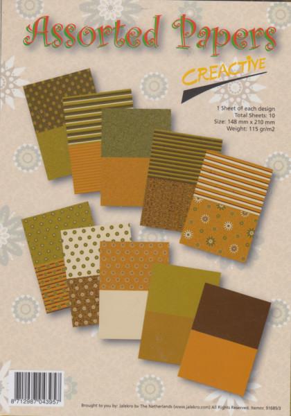 Assorted Papers, 10 vel, A5, bruin/groen/beige 91685/3 (Locatie: S2)