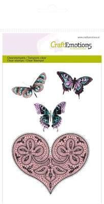 CraftEmotions clearstamps A6 - hart en vlinders Happiness 130501/1082 (Locatie: NN013)