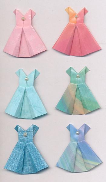 Handgemaakte origami stickers, overlopende kleuren, jurkjes, 6 stuks