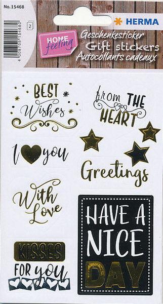 Herma stickers Best Wishes goud preeg 2 vel 15468 (Locatie: U189)