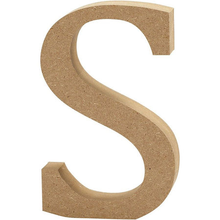 Letter S, hoogte 13 cm, dikte 2 cm, MDF, 1stuk (Locatie: KB)