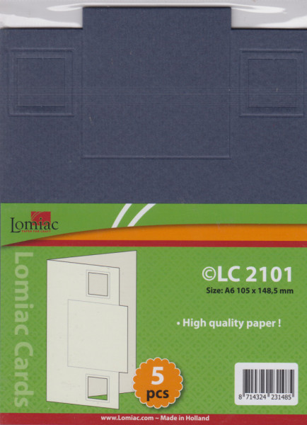 Lomiac kaart blauw met vierkant A6 5 stuks LC2101 (Locatie: Q016 )
