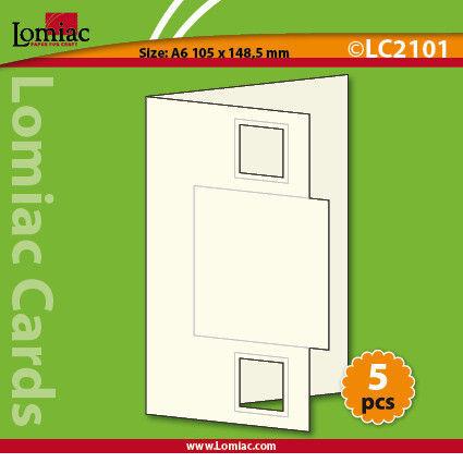 Lomiac kaart met vierkant A6 rood 5 stuks LC2101 (Locatie: Q019)