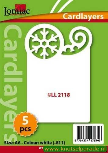 Lomiac oplegkaarten kerstkrul en sneeuwster ivoor 5 stuks LL 2118 (Locatie: N094 )