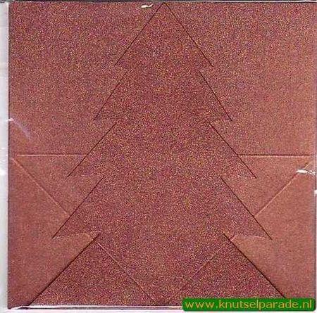 Mireille dubbele kaart metallic koper dennenboom 6 stuks (Locatie: L69 )