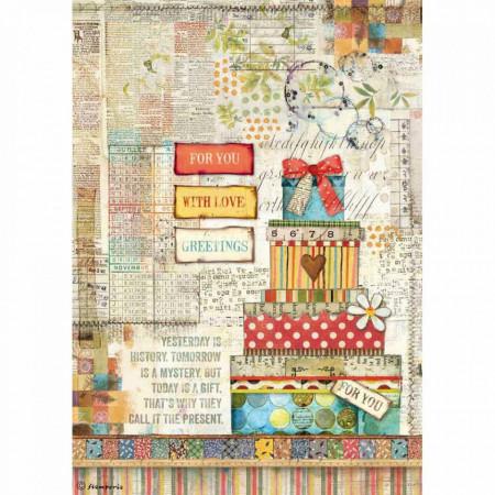 Stamperia Rice Paper A4 Patchwork Gift DSFA4331 (Locatie: 0819)