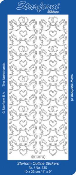 Starform sticker duifjes zilver 130 (Locatie: J363)