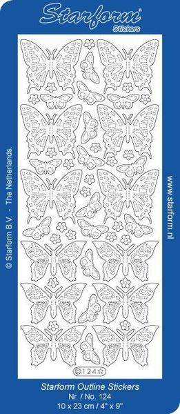 Starform sticker glitter zilver vlinders 124 (Locatie: J344 )