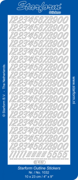 Starform sticker zilver cijfers 1032 (Locatie: HH130)