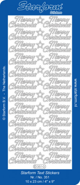 Starform stickervel Merry Christmas zilver 351 (Locatie: t134)