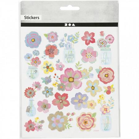 Stickers, vel 15x16,5 cm, bloemen, 27193 (Locatie: 2234)