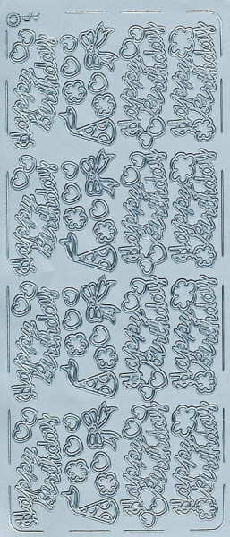 Stickervel zilver verjaardag (Locatie: f003)