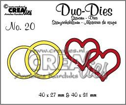 Crealies stansmal dubbele ring en hart CLDD19 (Locatie: K178)