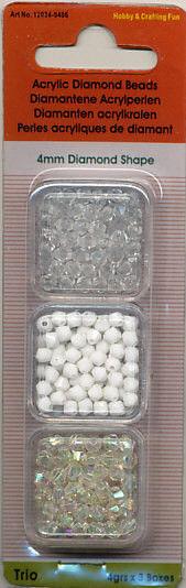 Diamond Shape Acrylkralen 4 mm 12034-0406 (Locatie: K3)