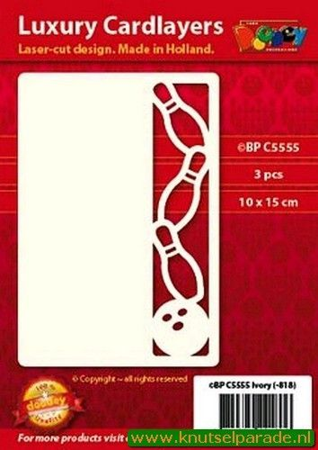 Doodey oplegkaarten bowling 3 stuks ivoor BPC5555 (Locatie: K135)