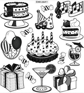 Doodey transparant stickervel Birthday GS656411 (Locatie: 6717)