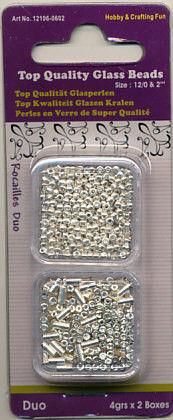 Glazen kralen/rocailles 2 x 4 gr. zilver 12106-0602 (Locatie: K3)