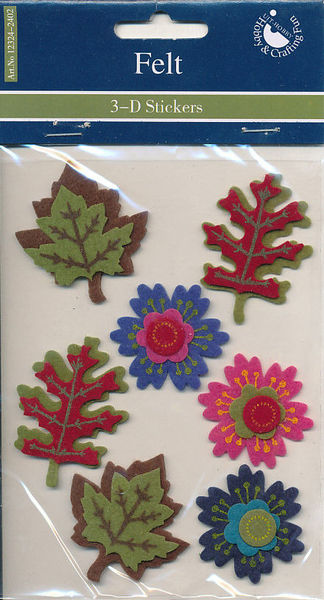 Hobby & Crafting Fun 3D stickers vilt bloemen en blaadjes 12324-2402 (Locatie: K3)