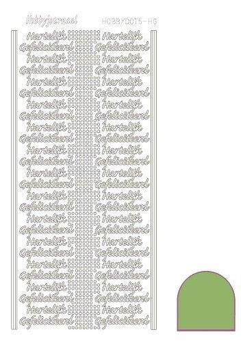Hobbydots stickervel glanzend gefeliciteerd Lime-groen STDMHG0C (Locatie: H407 )