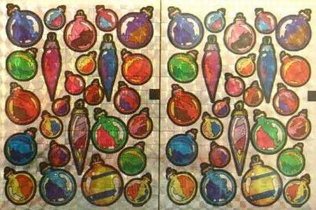 Holografische knipstickers kerstballen 5 vel 045 (Locatie: Q004 )