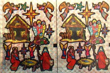 Holografische knipstickers kerstmis 5 vel 007 (Locatie: Q010)