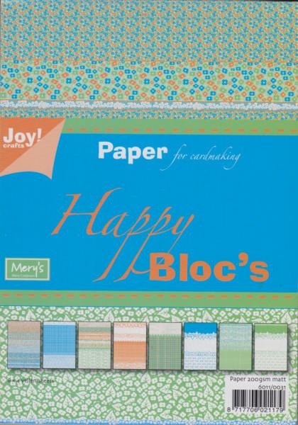 Joy Crafts papierblok A5 Happy Bloc's groen-blauw 6011 0031