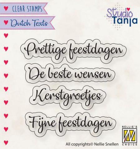 Nellie Snellen clear stamp 4 teksten Prettige Feestdagen DTCS025 (Locatie: NN304)