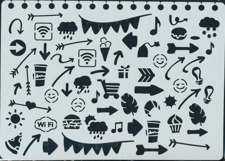 Papicolor Stencil Bulletjournal doodles 15x21 cm 830210 (Locatie: 4639)
