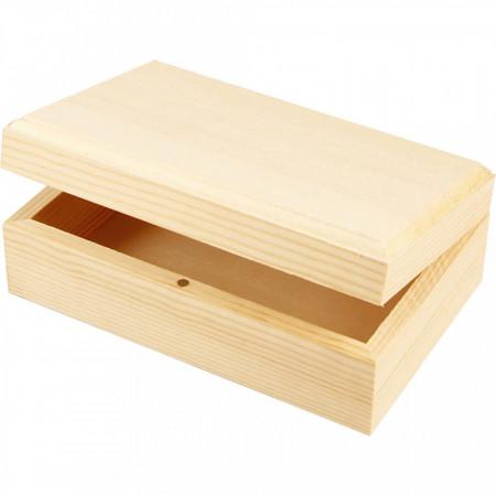Sieradendoos, afm 14x9x5 cm, binnenmaat 12,5x7,5x3 cm, grenen, 1stuk