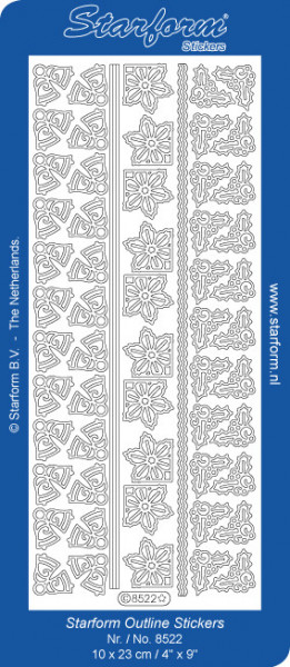 Starform sticker zilver kerst randjes/hoekjes 8522 (Locatie: S134)