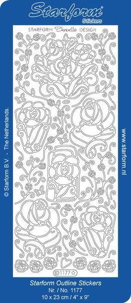 Starform stickervel zilver bloemen 1177 (Locatie: T042 )